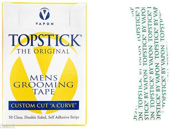 """Adesivo para colar peruca e lance front Topstick 50 un 1"""" x 3"""" curvado"""