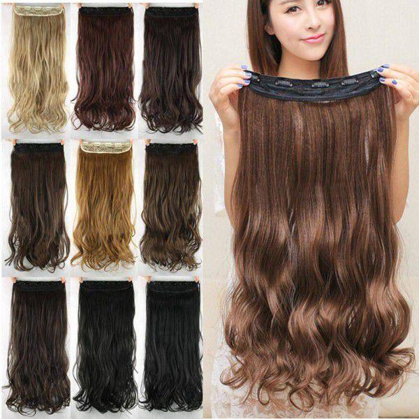 Aplique mega hair tic tac sintético ondulado 45 cm