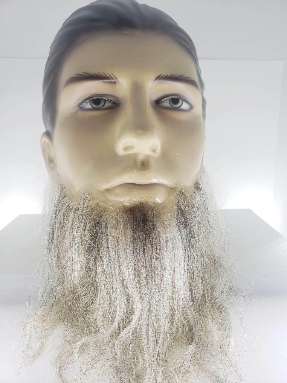 Barba e bigode falso postiço grisalho