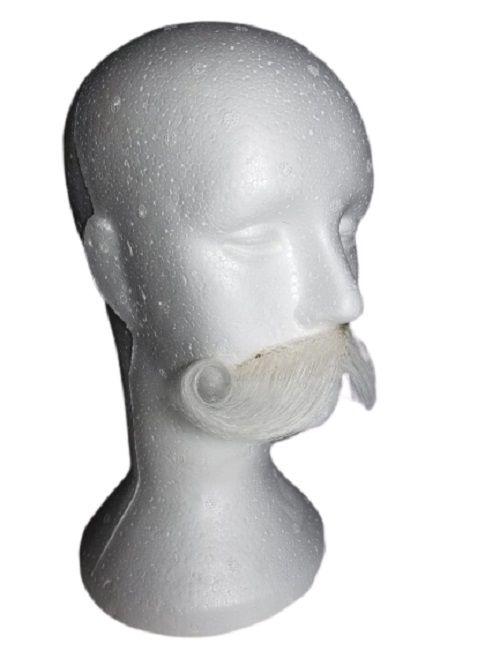 Bigode falso postiço branco modelo 4797 + cola de brinde