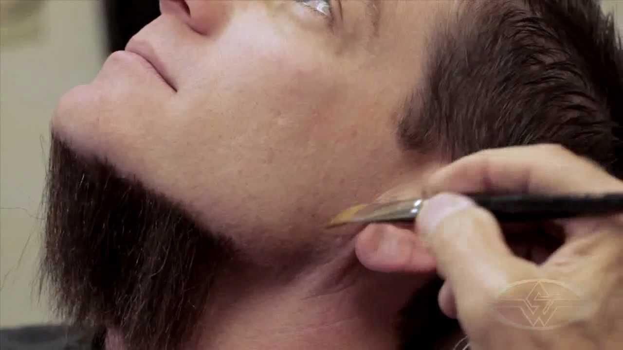 Cabelo crepe de lã para bigodes falsos e Pêlos faciais vermelho 20 cm