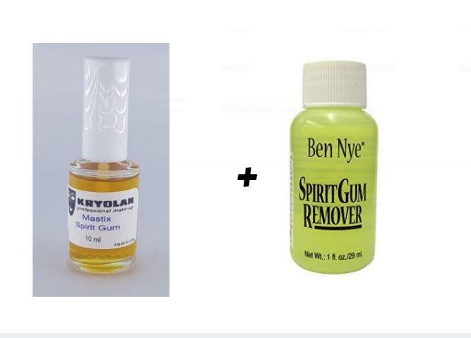Kit Cola Spirit Gum (verniz) Kryolan 10ml + removedor ben nye 29ml