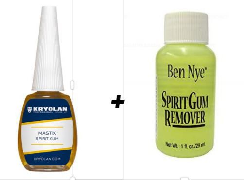 Kit Cola Spirit Gum (verniz) Kryolan 12 ml + removedor ben nye 29ml