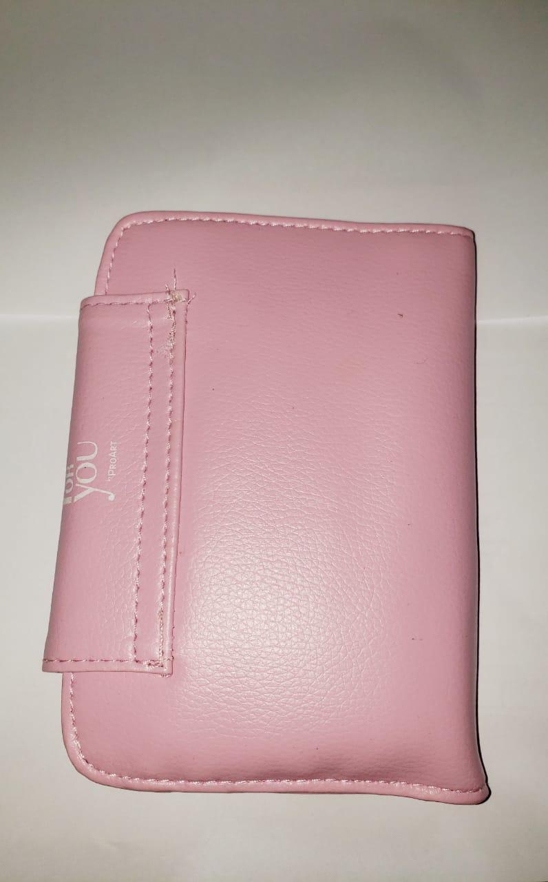 Kit de pinceis com 5 unidades rosa com espelho proart