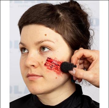 kit slug maquiagem de terror slug e látex 100 ml + esponja de arranhão