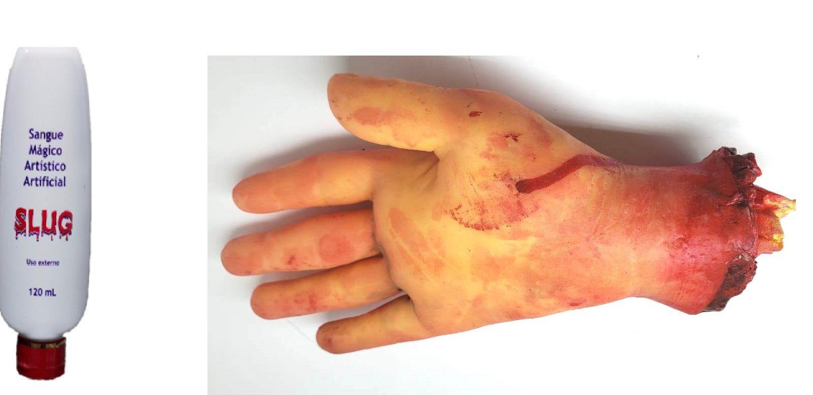 Kit slug Mão Falsa zumbi assustador  + sangue mágico 120 ml