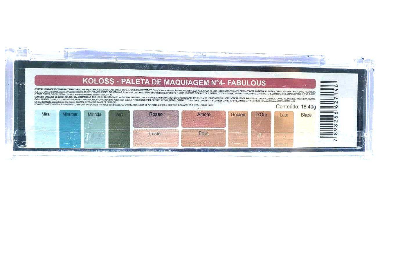 Paleta de sombras Nº4 Fabulous Koloss