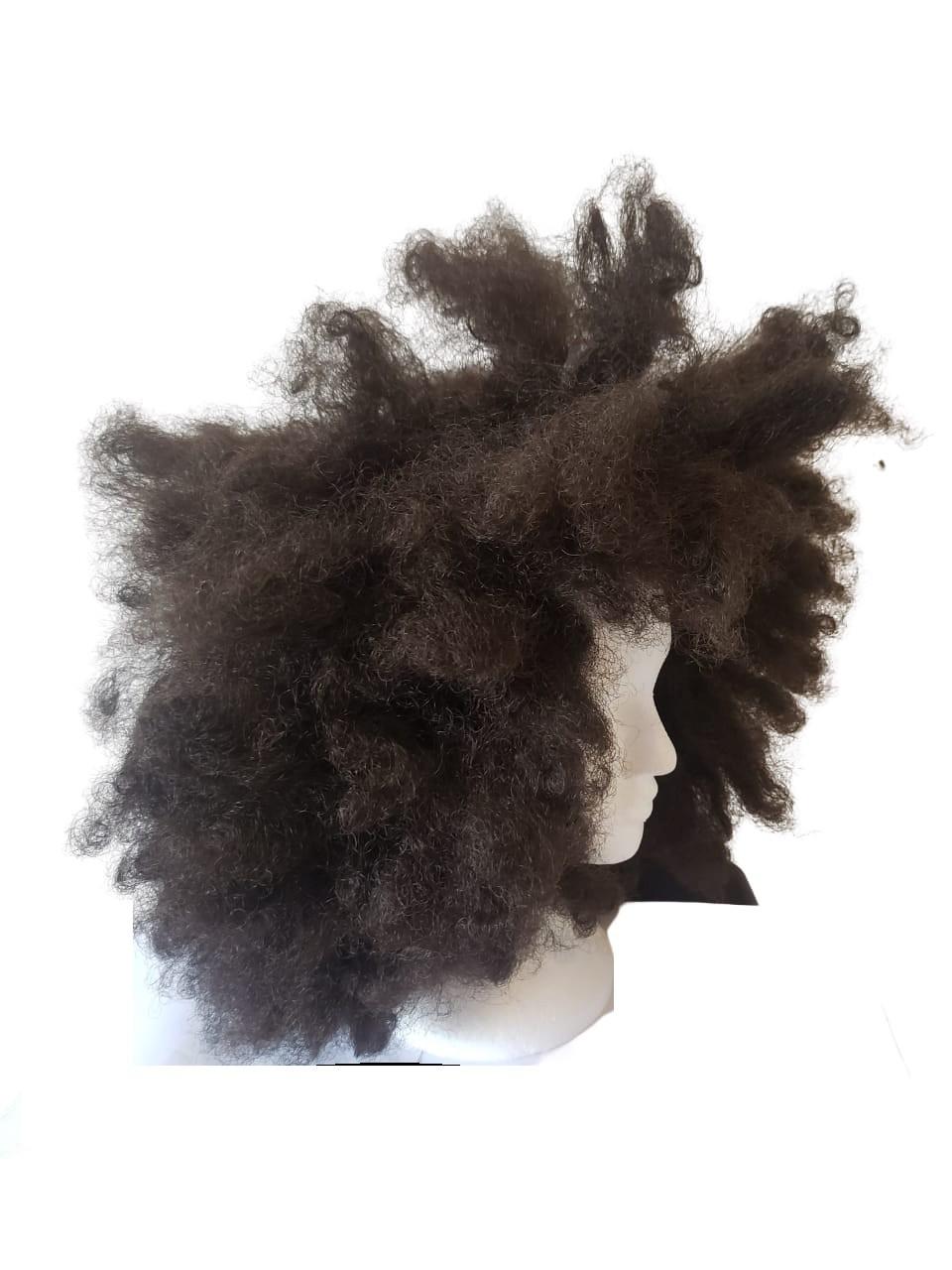 Peruca mega black power castanho fibra orgânica nature Afro