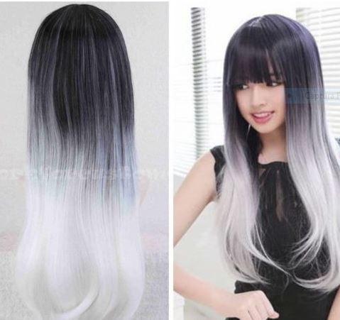 Preto Com Prata Branco Peruca de cabelo longo liso para cosplay de anime