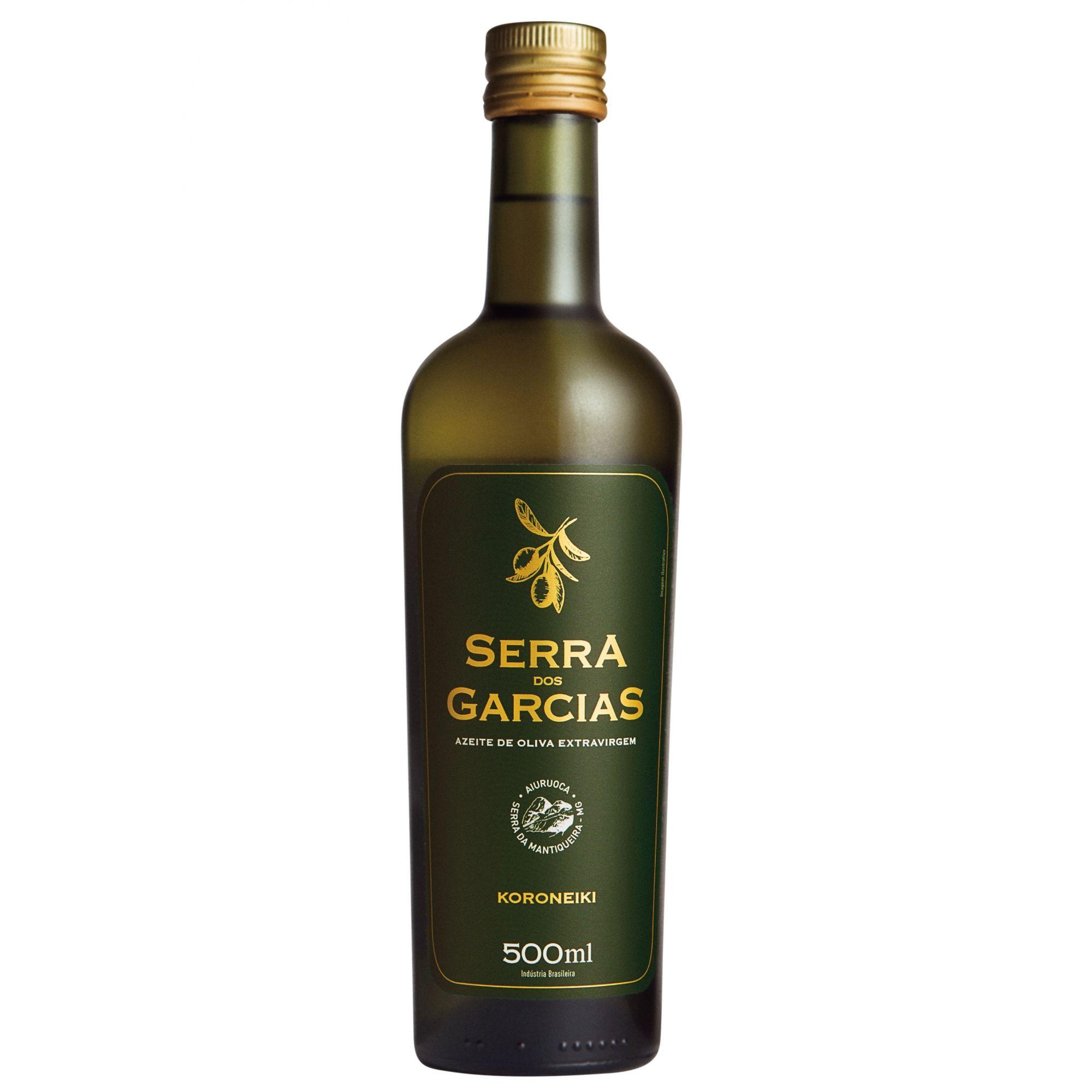 KORONEIKI 500ml <br><br> Frutado de azeitona verde com notas florais, herbáceo e ligeiros toques de frutos maduros.  -  Azeite Serra dos Garcias