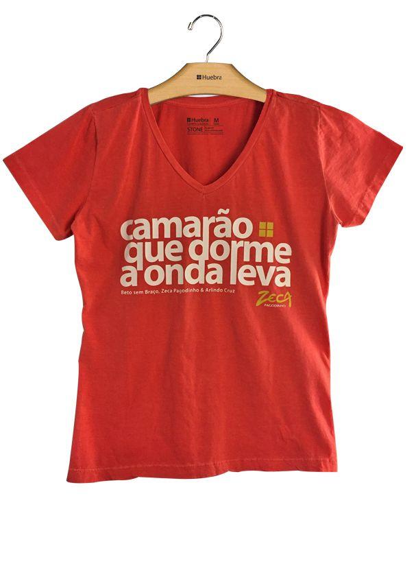 T-Shirt Feminina Gola V Camarão