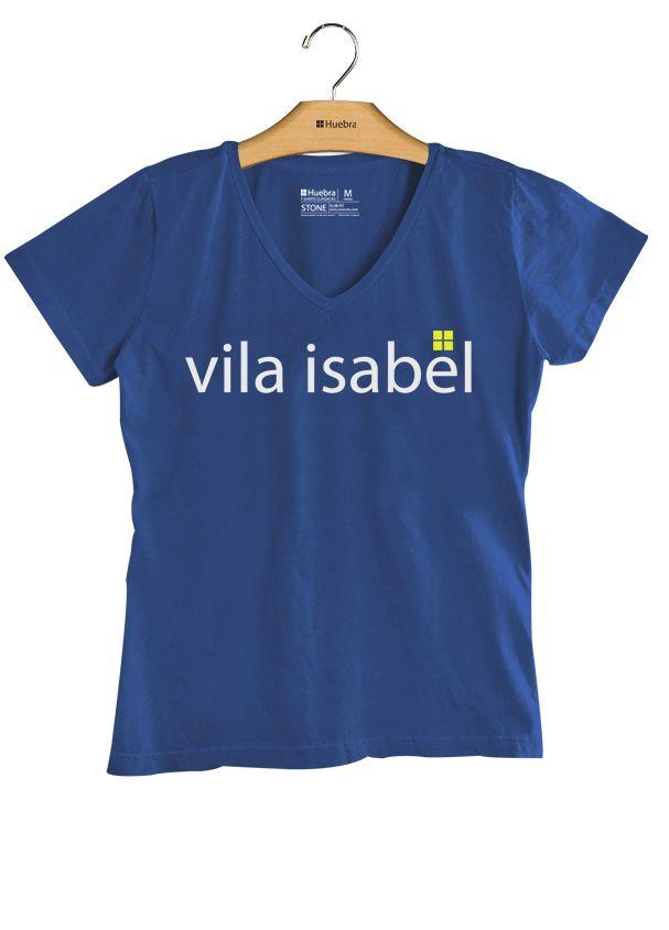 T-Shirt Feminina Gola V  Vila Isabel
