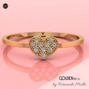 Anel em Ouro 18k - Golden Hearts + Brilhante