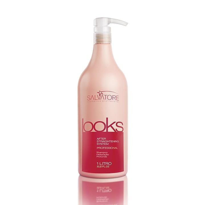Shampoo Looks Profissional 1Litro - Shampoo de Tratamento Pós-Química de Salão - Cabelos Normais