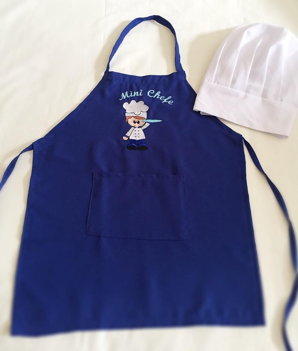Kit Mini Chef - menino (azul claro, azul escuro ou preto)