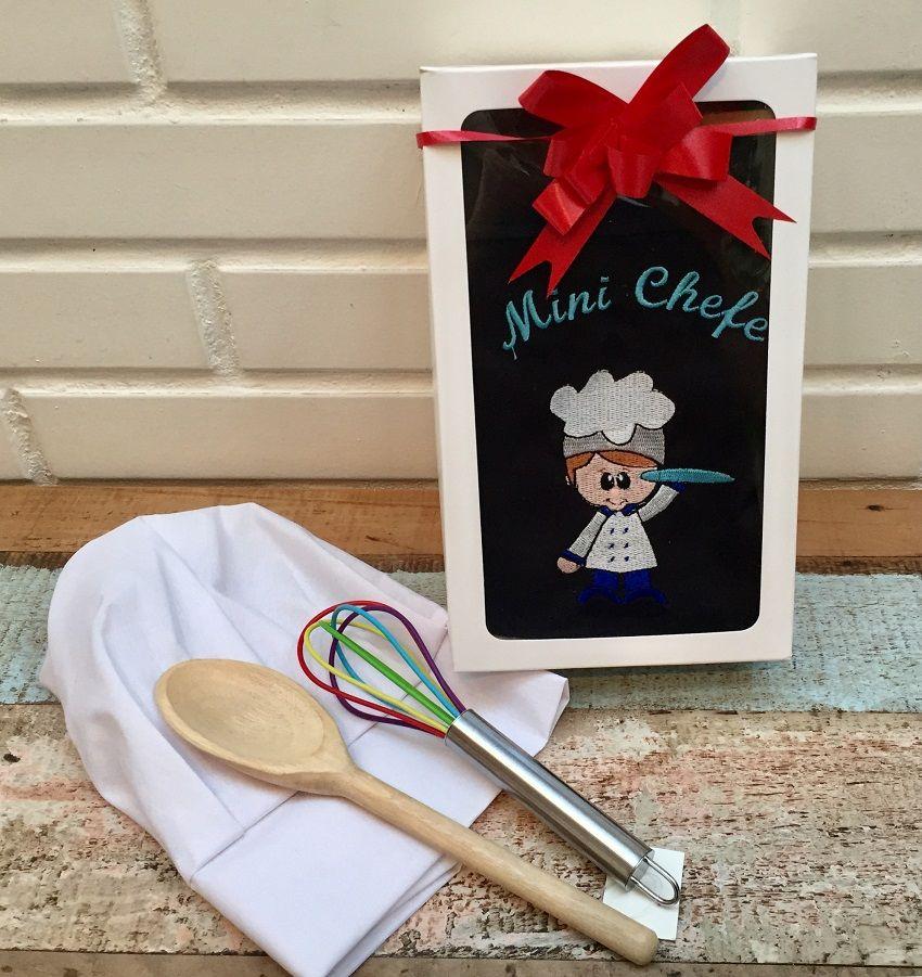 Kit Mini Chef + utensílios (avental preto, menino)