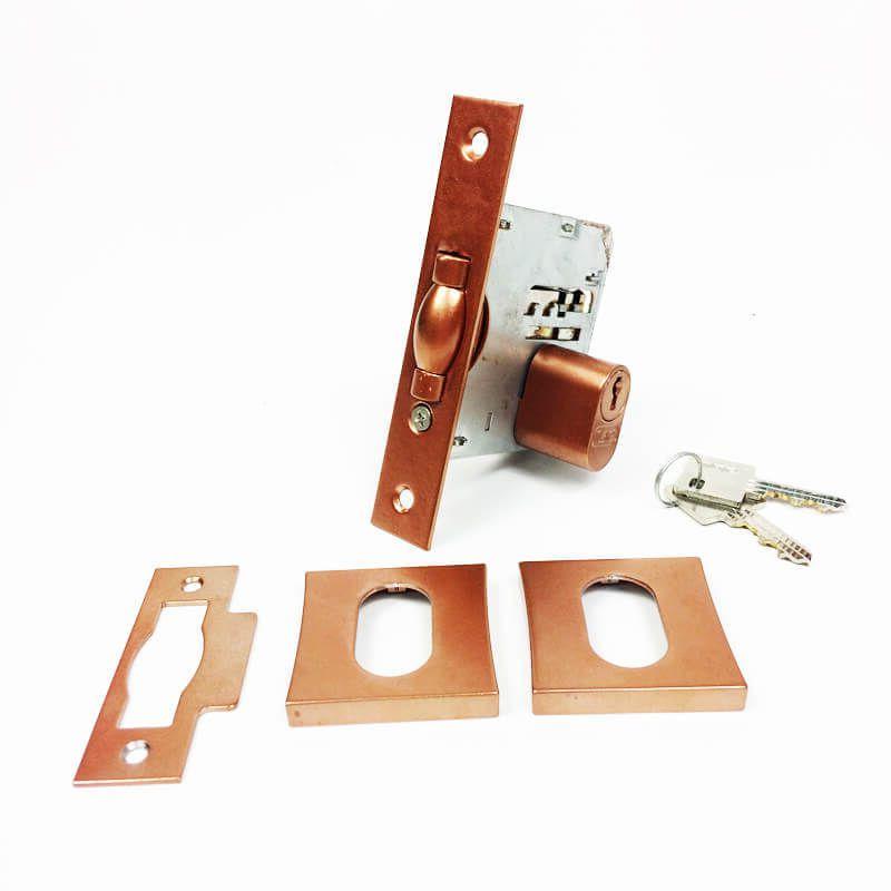 Fechadura Soprano Trinco Rolete Pivotante Quadrada Cobre Acetinado 65 mm  - Puxadores para Portas