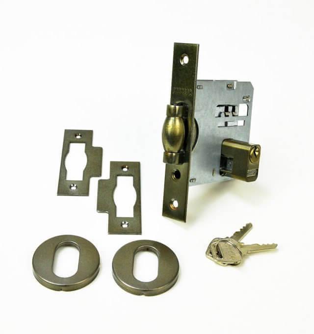 Fechadura Soprano Trinco Rolete Pivotante Redonda Antique Ouro Velho 53 mm  - Puxadores para Portas