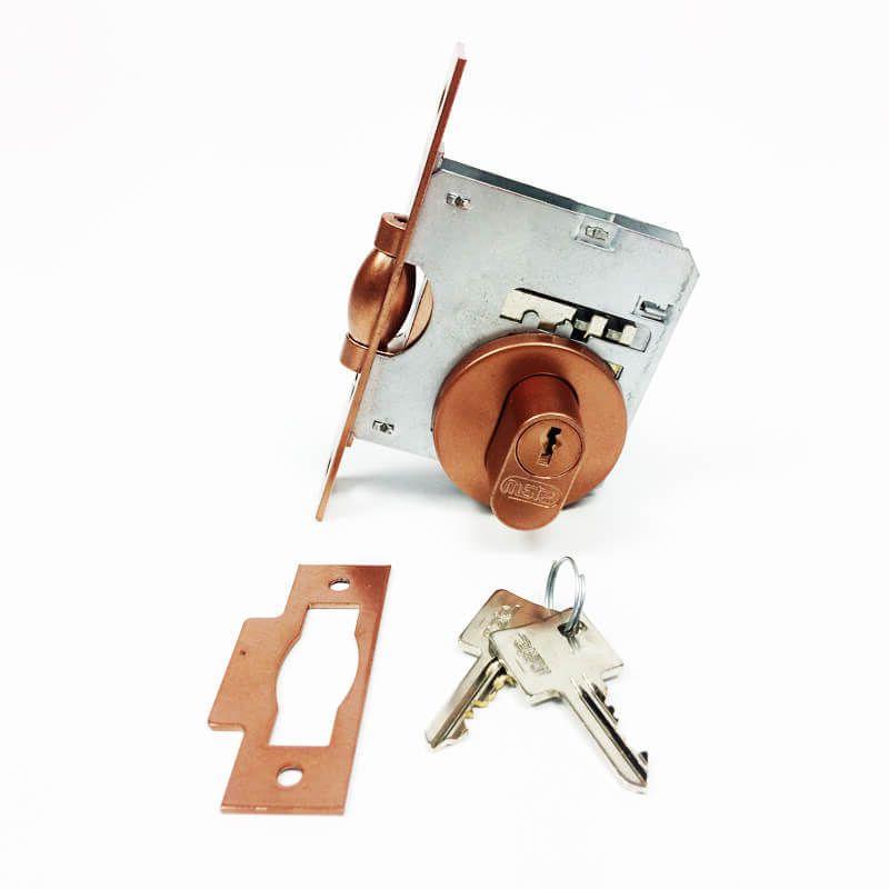 Fechadura Soprano Trinco Rolete Pivotante Redonda Cobre Acetinado 53 mm  - Puxadores para Portas