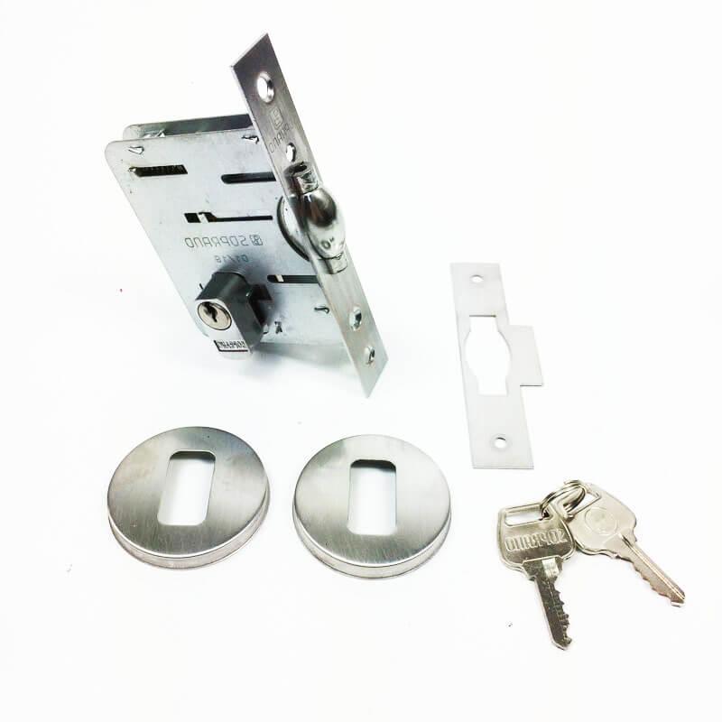 Fechadura Soprano Trinco Rolete Pivotante Redonda Escovado Fosco 65 mm  - Puxadores para Portas