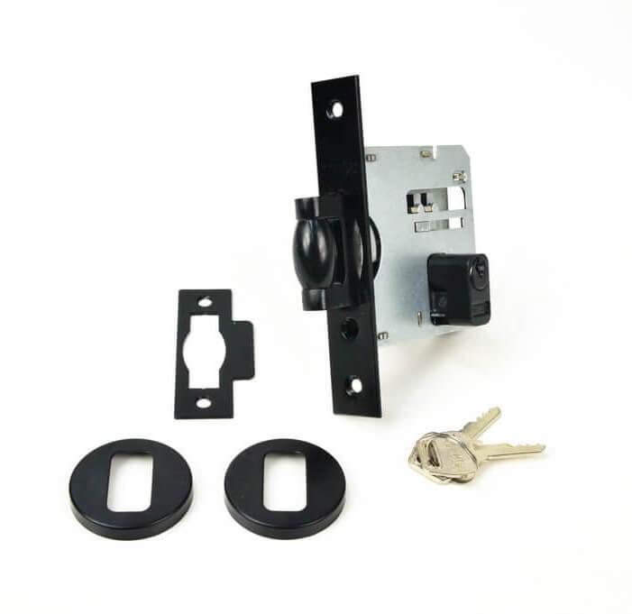 Fechadura Soprano Trinco Rolete Pivotante Redonda Preto 53 mm  - Puxadores para Portas