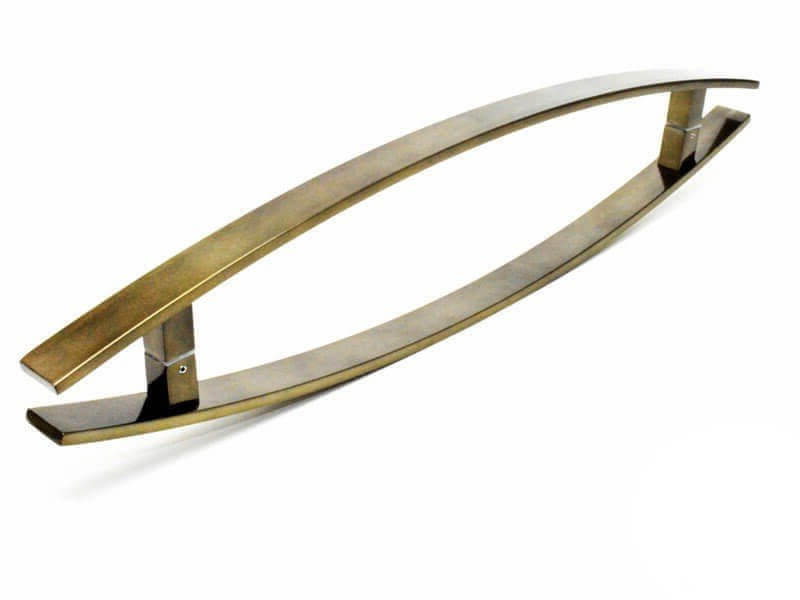 Puxador de Porta Tubular Curvo Inox - Lugui - Antique Ouro Velho  - Puxadores para Portas