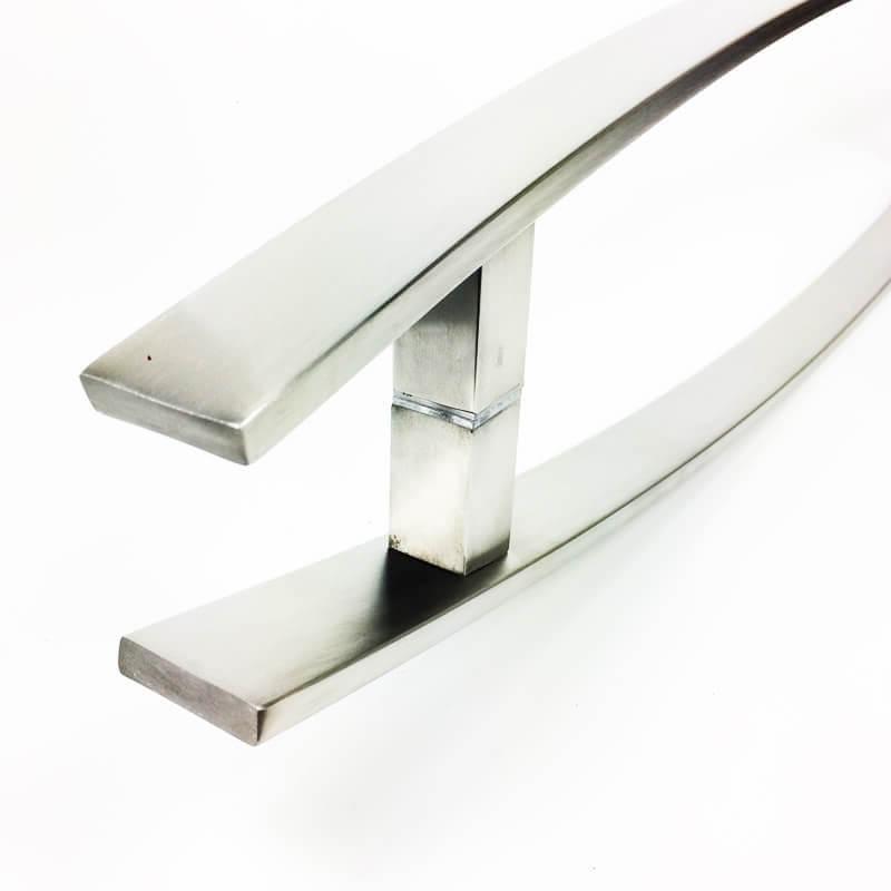 Puxador de Porta Tubular Curvo Inox - Lugui - Escovado  - Puxadores para Portas