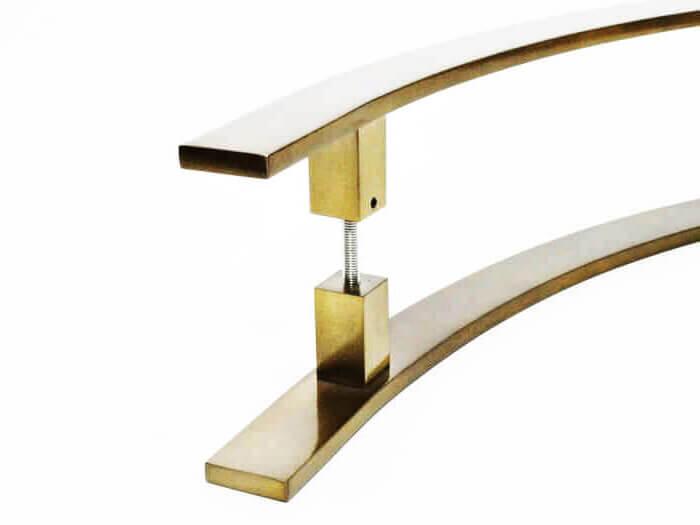 Puxador para Porta Tubular Curvo Inox - Novitá - Antique Ouro Velho  - Puxadores para Portas