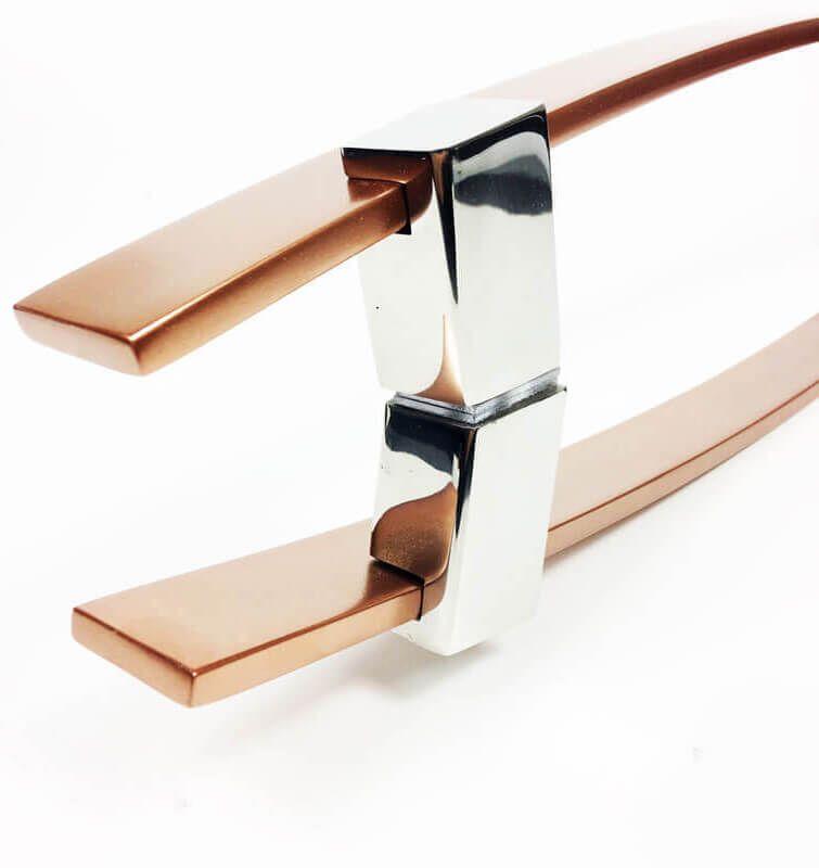 Puxador para Porta Tubular Reto Inox - Alba - Cobre Acetinado  - Puxadores para Portas
