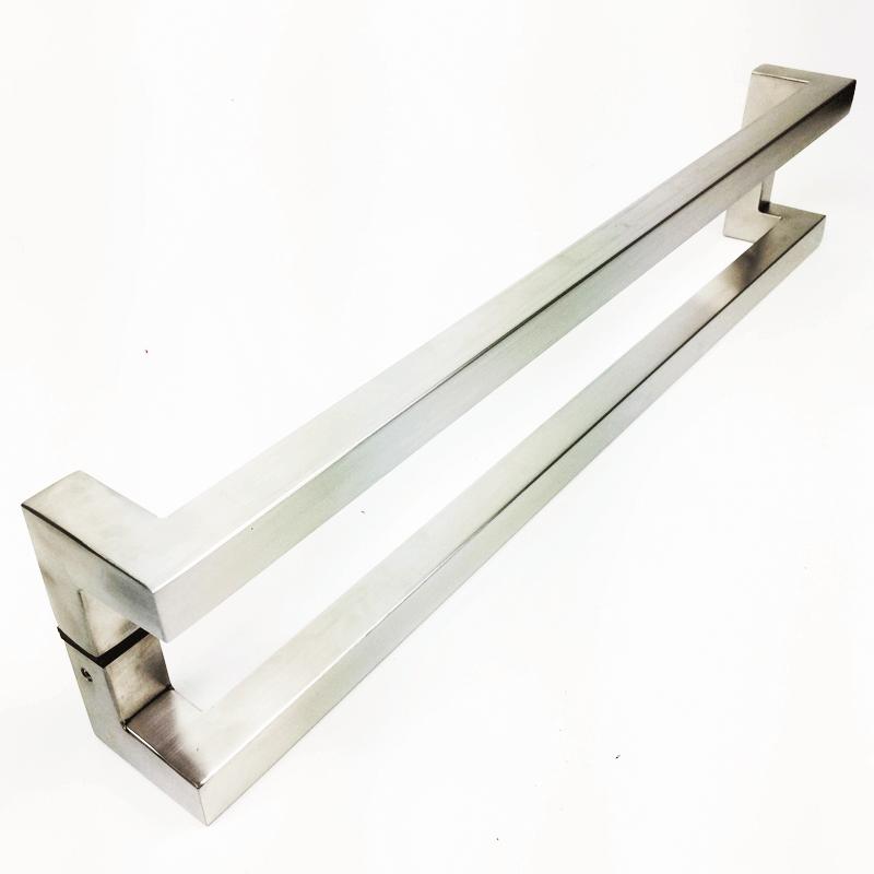Puxador para Porta Tubular Reto Inox - Athenas - Escovado  - Puxadores para Portas