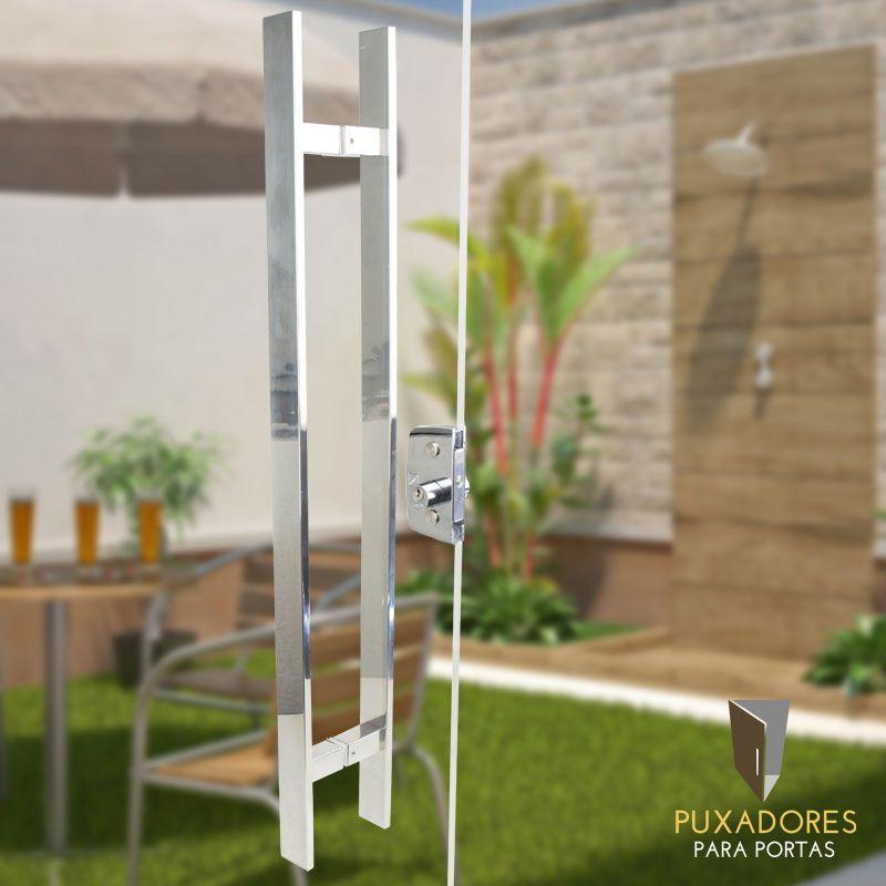 Puxador para Porta Tubular Reto Inox - Clean - Polido  - Puxadores para Portas