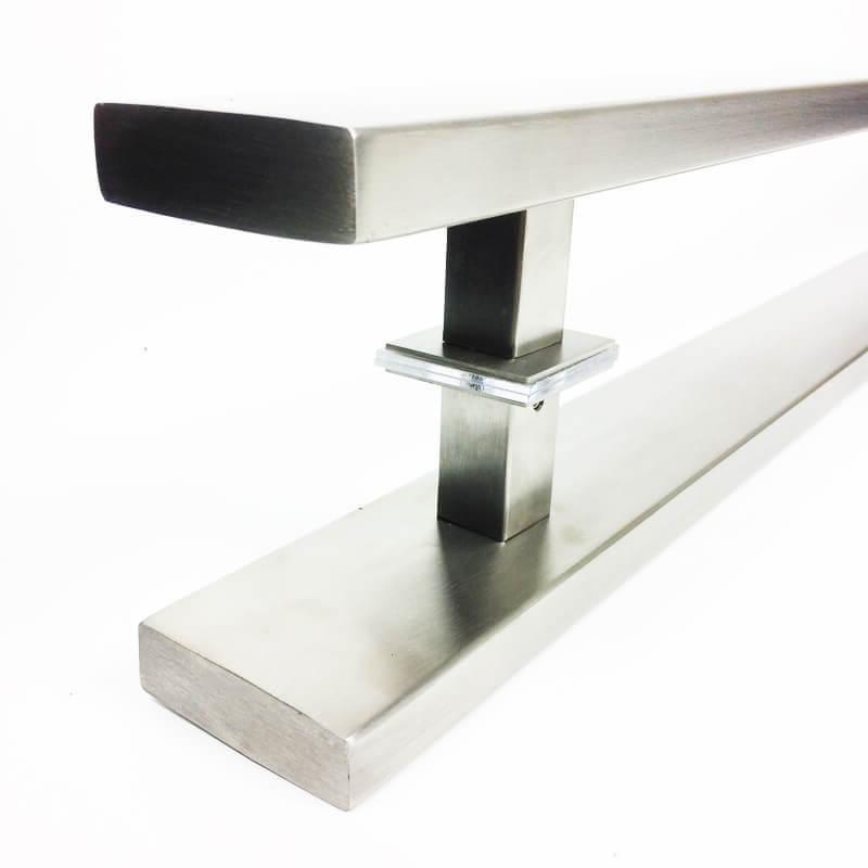 Puxador para Porta Tubular Reto Inox - Grand Clean - Escovado   - Puxadores para Portas