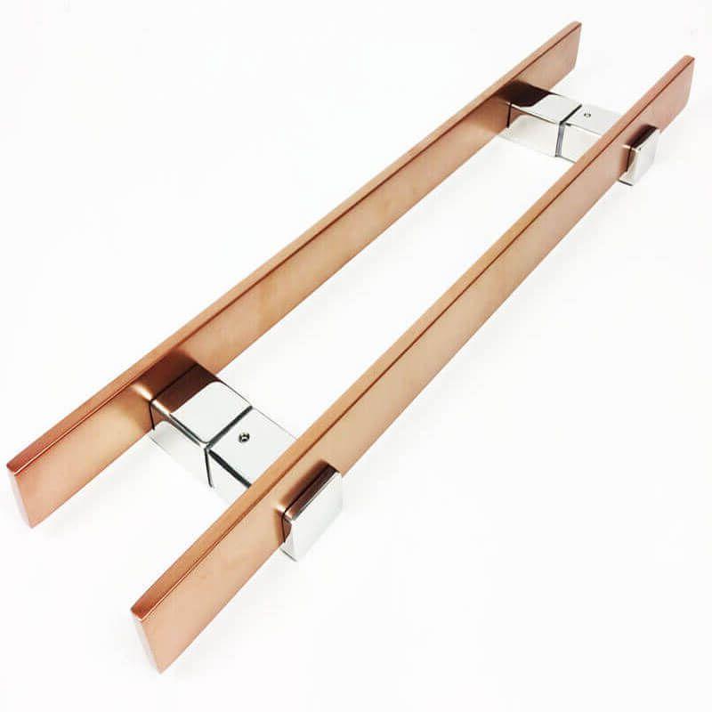 Puxador para Porta Tubular Reto Inox - Luma - Cobre Acetinado  - Puxadores para Portas
