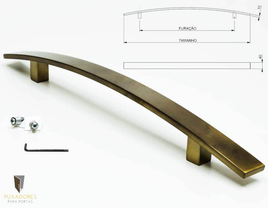 Puxador Para Portas (1 LADO) AÇO INOX ANTIQUE OURO VELHO - LUGUI  - Puxadores para Portas