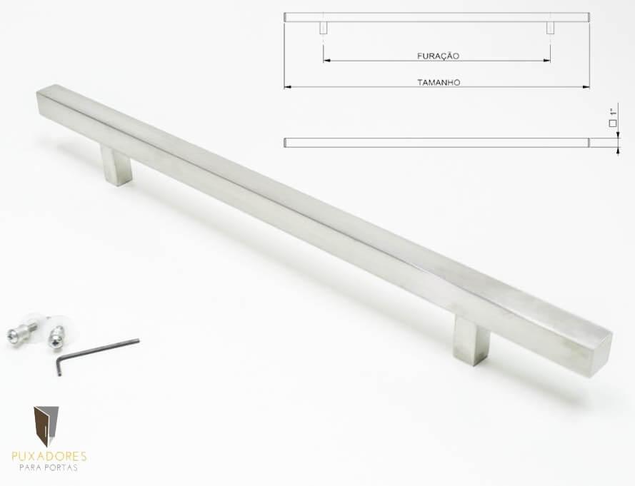 Puxador Para Portas (1 LADO) AÇO INOX ESCOVADO  - ARISTOCRATA   - Puxadores para Portas