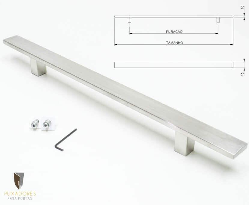 Puxador Para Portas (1 LADO) AÇO INOX ESCOVADO - CLEAN  - Puxadores para Portas