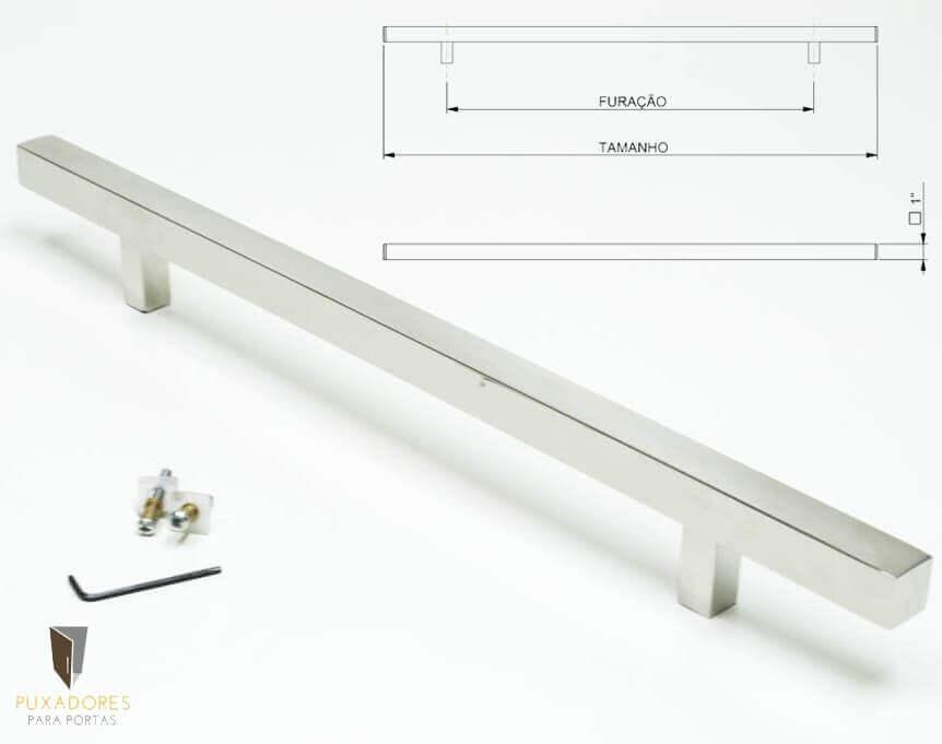 Puxador Para Portas (1 LADO) AÇO INOX POLIDO - ARISTOCRATA   - Puxadores para Portas