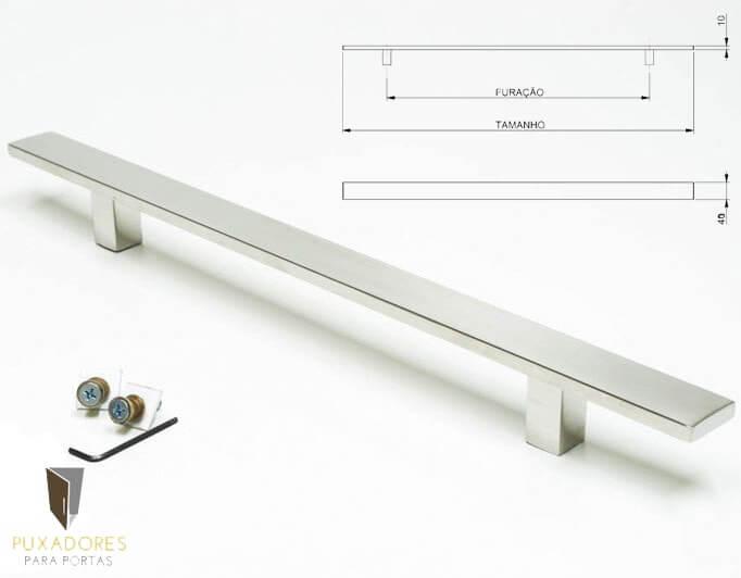 Puxador Para Portas (1 LADO) AÇO INOX POLIDO - CLEAN  - Puxadores para Portas