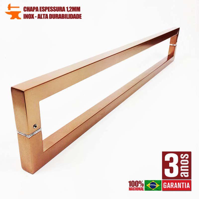 PUXADOR PARA PORTAS DUPLO AÇO INOX 304 COBRE ACETINADO (SLIN)  - Puxadores para Portas