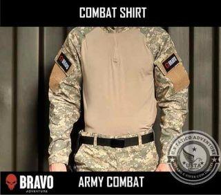 Combat Shirt Army Combat 2 Bolsos Com Velcro Bravo