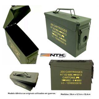 Caixa Munição 9mm / Bbs 6mm / M4 Militar Ammo Box Original Ntk