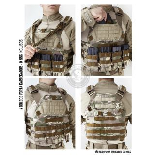 Colete Tático Militar TEMPLÁRIO TACTICAL DACS MULTICAM + 4 BOLSOS 556