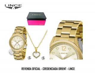 Conjunto Relógio Lince Orient Dourado LRGJ122L KY85 + Colar e Brincos