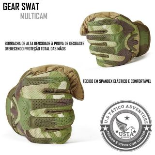 Luva Tática Militar Airsoft Paintball Camuflada Multicam Gear Swat MÉDIO