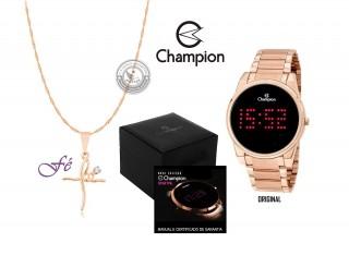 Relógio Champion em Aço Rose com LED DIGITAL Vermelho - CH40053Z