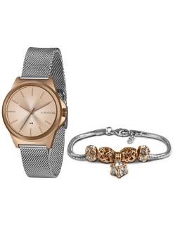 Relógio Feminino Lince Orient Rose LRT4650L KX50 + Pulseira Berloque