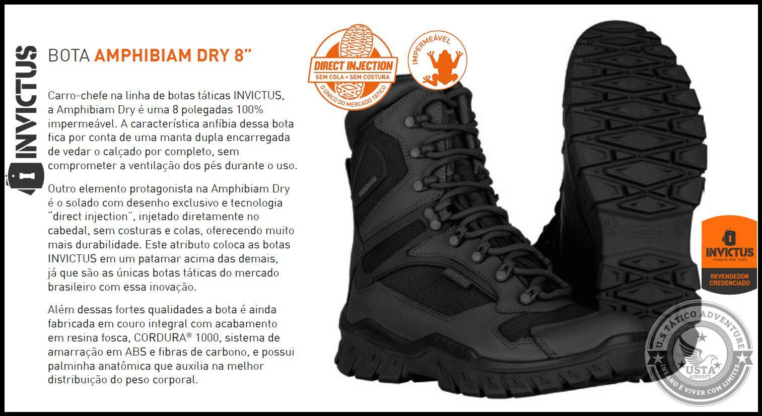 Bota AMPHIBIAM Dry Impermeável - INVICTUS PRETA