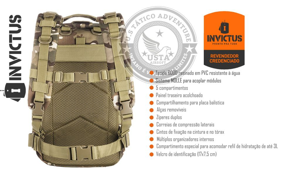 Mochila Assault Invictus Multicam - Modular