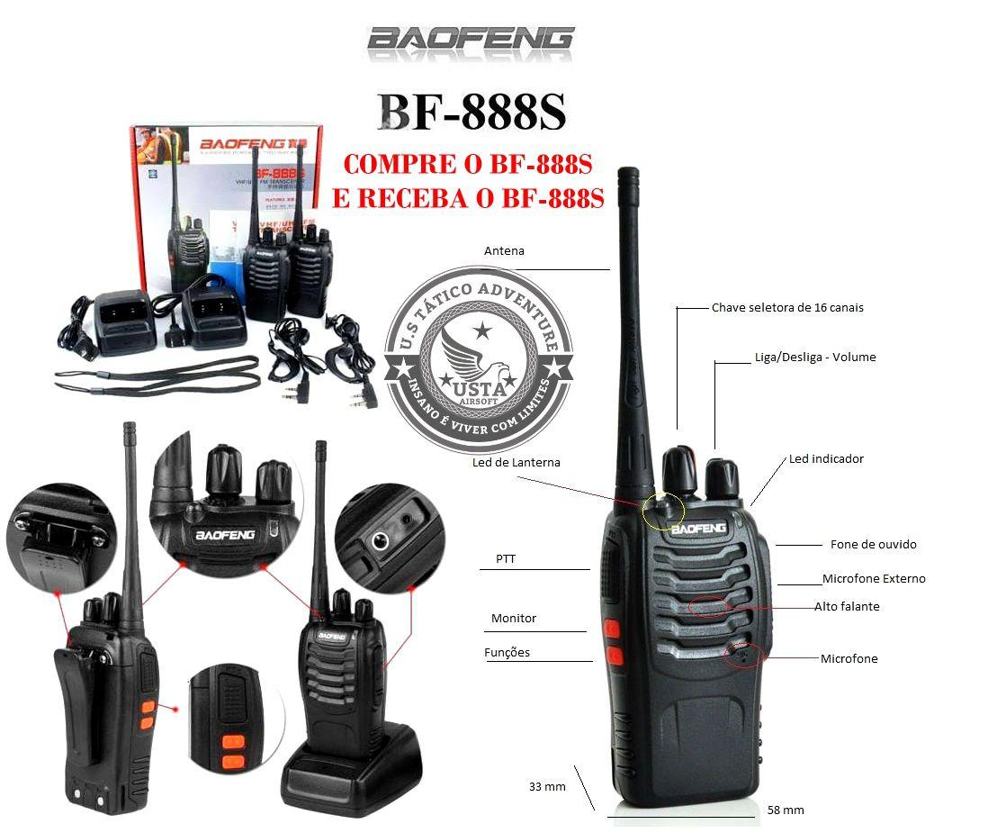 Rádio Baofeng Walkie Talkie 888S