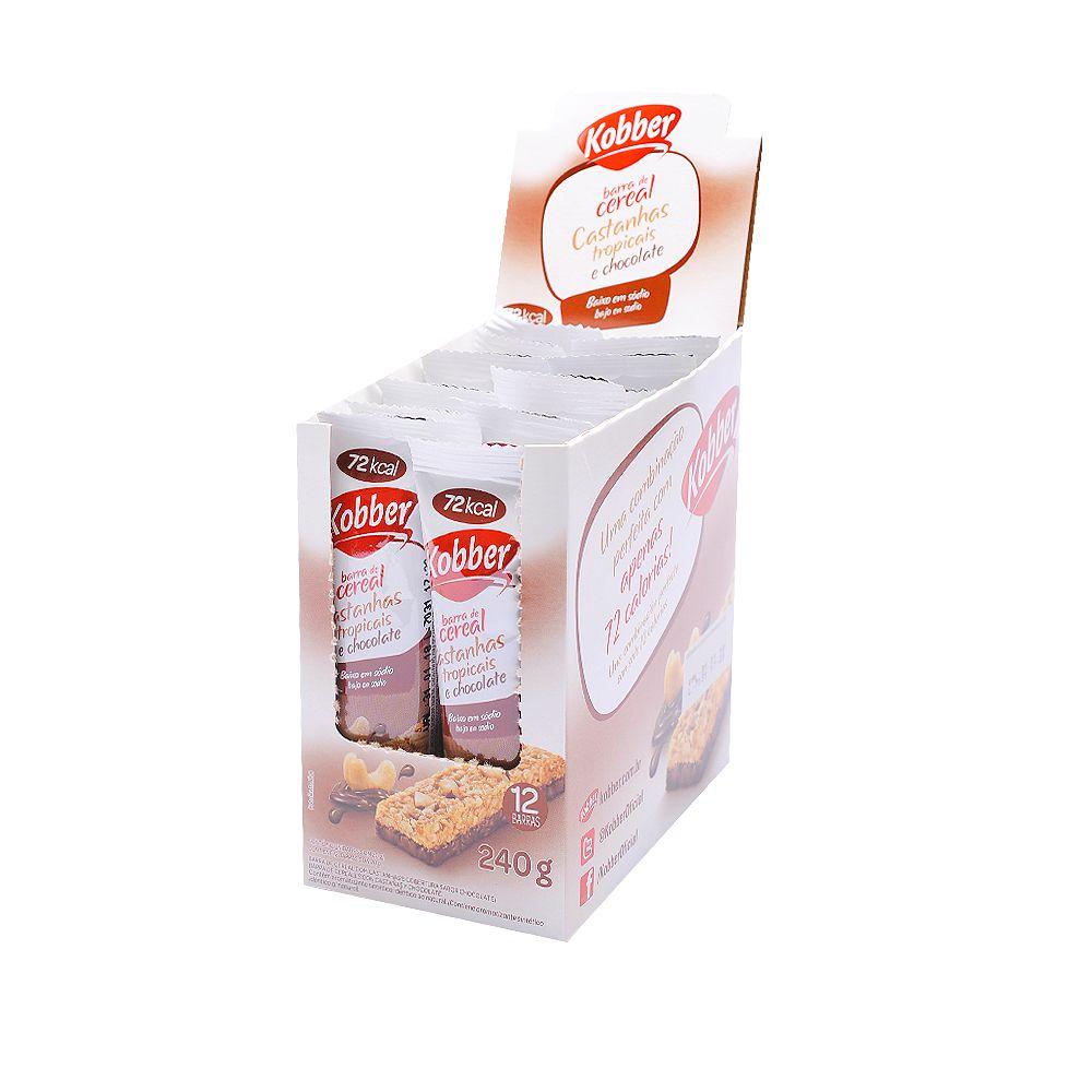 Display Barra Cereal Castanhas Tropicais com Chocolate Kobber 12 uni 240g  - Planta e Saúde